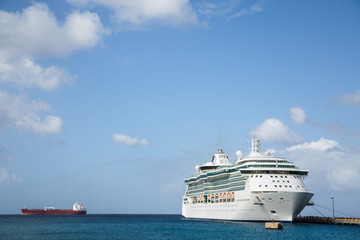 Cruise Ship and Empty Freighter