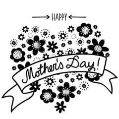 białe i czarne kwiaty kropki serce Dzień Matki na białym tle