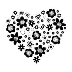 czarne kwiaty kropki serce na białym tle