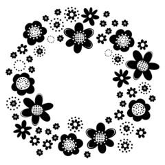 czarne kwiaty i kropki wieniec na białym tle