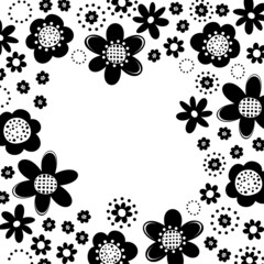 czarne kwiaty i kropki rama na białym tle