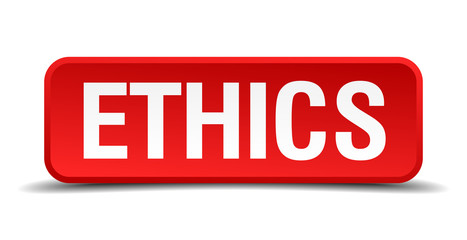 Ethics red 3d square button isolated on white background