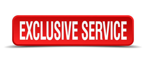 exclusive service red 3d square button on white background