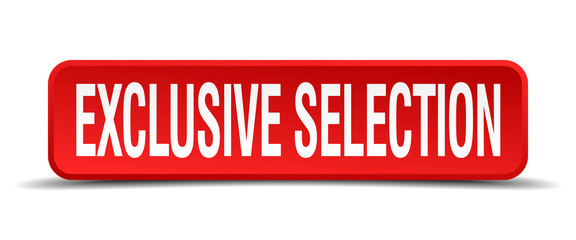 exclusive selection red 3d square button on white background