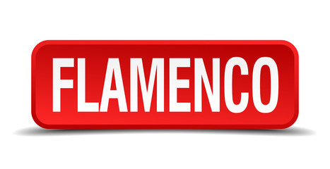 Flamenco red 3d square button isolated on white background