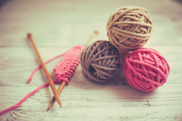 Knitting, old retro vintage style