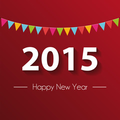 Paper 2015 Happy New Year with red background