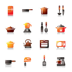 Kitchen Utensils and Appliances Colorful Icons