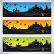 Set of colorful banners on Halloween
