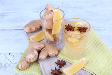 Glasses of ginger drink with lemon