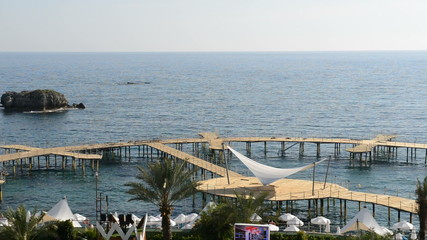 Panning of beach at the luxury hotel, Antalya, Turkey