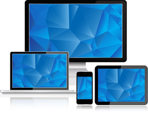 Electronic Devices with blue screen