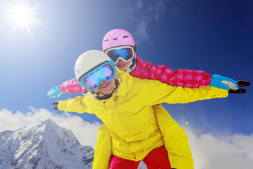 .Skiing. Skiers enjoying winter vacation