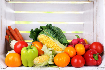 Vegetables in white wooden box