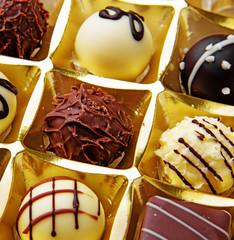 chocolate pralines - detail close up