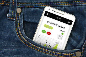mobile phone in pocket with stock exchange screen