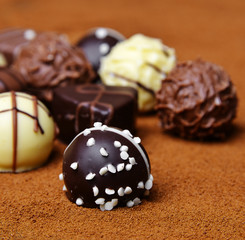 chocolate pralines - detail