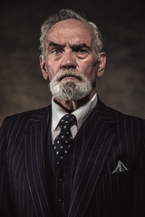 Characteristic senior business man with gray hair and beard wear