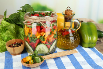 Vegetable salad in glass jar