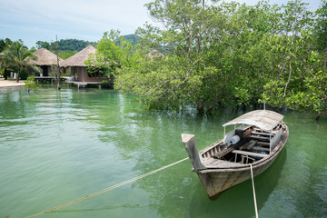 Thai long tail boat with mangrove and huts view