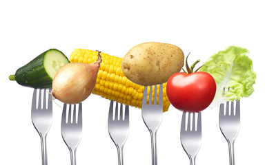 Gemüse auf Gabel