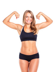 Young athletic girl on white background