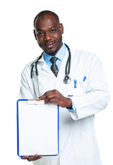 Young male smiling doctor showing clipboard with copy space for