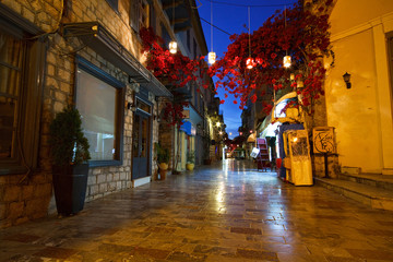 Empty streets of morning Nafplio city center, Greece.
