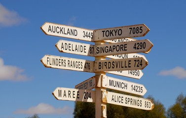 Direction sign in Australia