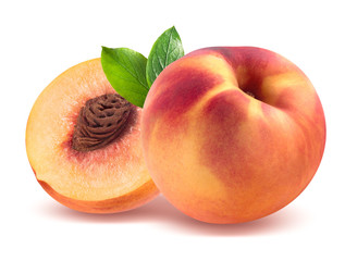 Peach and half isolated on white background