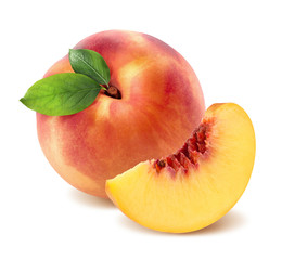 Peach and quarter piece isolated on white background