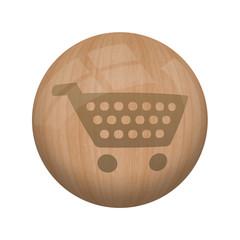 Bouton en bois sans ombre : panier
