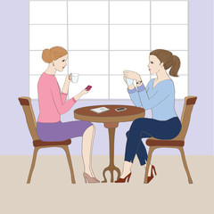 Illustration with women at cafe.