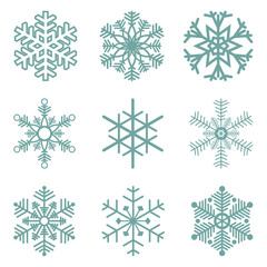 collection of different blue snowflakes