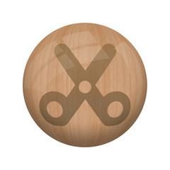Bouton en bois sans ombre : ciseau