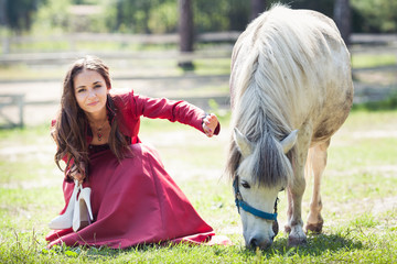 brunette girl and horse