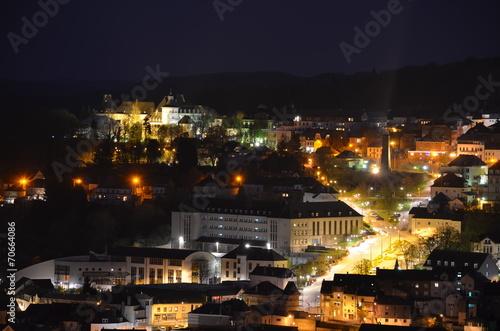 Aluminium Treinstation Night view over Wiltz, Luxembourg.