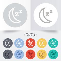 Sleep sign icon. Moon with zzz button.