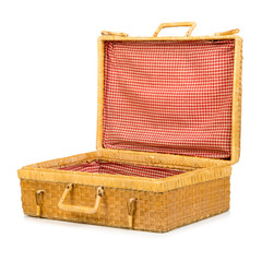 valigia di vimini aperta