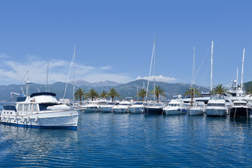 Boats in marina, Montenegro, Adriatic Sea