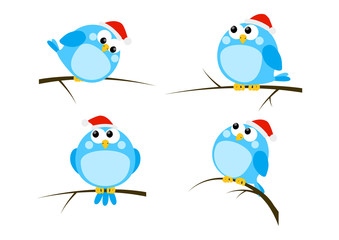 Set of cartoon Christmas birds