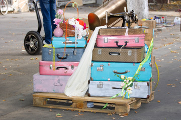 Colorful suitcases retro style