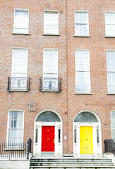 Colorful Georgian doors in Dublin (red and yellow)