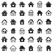Houses icons set, vector illustration.