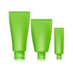 Illustration of green tubes cap for cream on white background