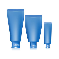 Illustration of blue tubes and cap for cream on white background