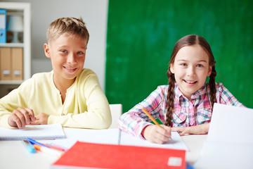 Friendly schoolchildren