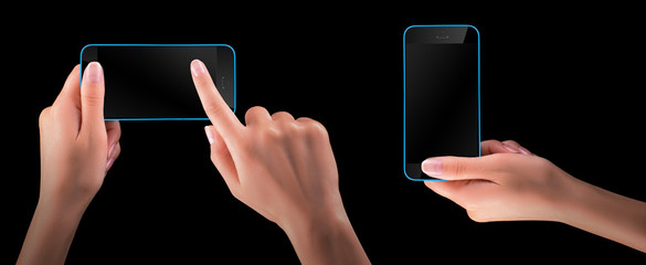 Hand holding Black Smartphone with blank screen