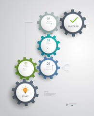Gears Infographics .Successful business steps idea planning.