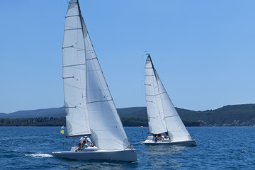 Outdoor activities. The sailing yachts